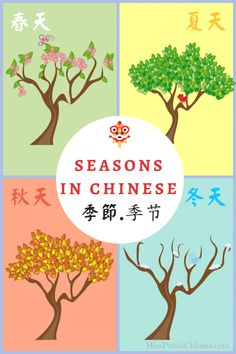 Seasons in Chinese! Teaching resources for seasons in Chinese with music, hands-on activities, and printables. Vocabulary list and expressions for you. Hello English, Mandarin Lessons, Chinese Lessons, Vocabulary List, World Languages, Tree Crafts, Kids Songs, Hands On Activities, Creative Words
