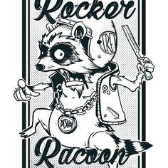 Rocker Racoon @redbubble #racoon #illustration #rocker