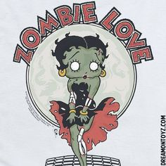 ZOMBIE LOVE ➡ More Betty Boop Graphics & Greetings http://bettybooppicturesarchive.blogspot.com/  ~And on Facebook~ https://www.facebook.com/bettybooppictures Marilyn Monroe style zombie #BettyBoop #Halloween