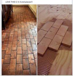 Mud room flooring faux brick floor with wood blocks! Wooden blocks for fake brick flooring awesome diy idea