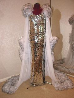 Special stunning custom fuchsia drag queen pageant mermaid sequin ...