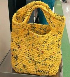 "How to Make a Reusable Plarn Bag Haven't heard of plarn before? It's ""yarn"" made from used plastic bags. Want to make the ultimate recycled tote? We've got instructions to make your own from Festival Foods bags! Crochet Market Bag, Crochet Tote, Crochet Purses, Crochet Crafts, Free Crochet, Reuse Plastic Bags, Plastic Bag Crafts, Plastic Bag Crochet, Crocheted Bags"