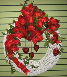 Red and white Valentine wreath