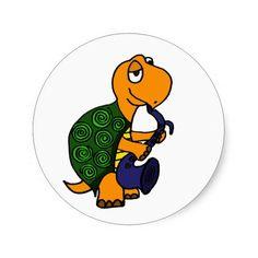 Funny Turtle Playing a Saxophone Round Sticker #turtles #stickers #music #saxophone #funny And www.zazzle.com/tickleyourfunnybone*