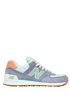 NEW BALANCE - 574 SUEDE & NYLON CANVAS SNEAKERS - AQUA/GREEN $119.99