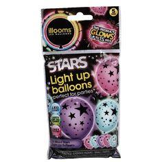 Ballon lumineux LED design étoiles x4