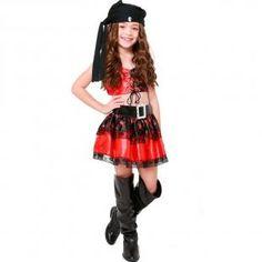 8b58343db3 Fantasia de Pirata Corsária Com Cinto e Bandana Infantil Feminina - Fantasias  carol kb