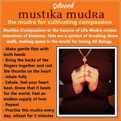 "Mustika Mudra means ""hand-clenching,"" and symbolizes the release of aggression. It embodies the intention of compassion and cultivates kindness. It may be effective in relieving osteoarthritis of the hands and wrist and can strengthen the grip. Chakra Meditation, Kundalini Yoga, Pranayama, Mindfulness Meditation, Chakra Healing, Qi Gong, Acupuncture, Hand Mudras, Yoga Symbols"