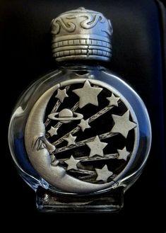 Vintage Perfume Bottle JJ Jonette Moon Stars pewter