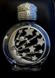 vintage Perfume Bottle JJ Jonette Moon Stars pewter