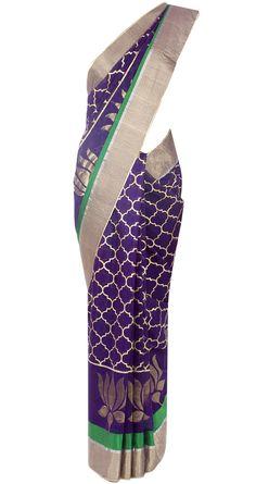 Purple lotus motif sari by ROHIT BAL. http://www.perniaspopupshop.com/designers-1/rohit-bal
