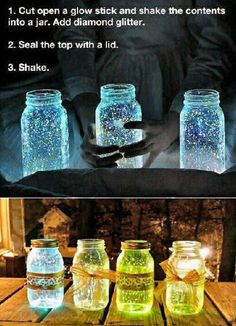 Great idea for an outdoor evening wedding! Just get the glow sticks that match closest to your colors!