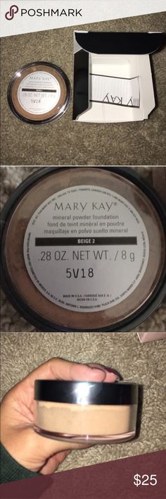 NWT. Beige 2 Mineral Foundation New with tags. Mary Kay Mineral foundation. Color: Beige 2. It is the darkest beige color before going into bronze. I would say it's for someone with a medium colored skin tone. ❌No Trades ❌No Holds ✅Posh Only ✅ Comes from a smoke free home Mary Kay Makeup Foundation