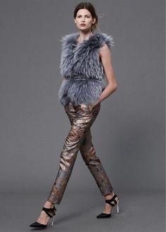 fur vest + brocade pants