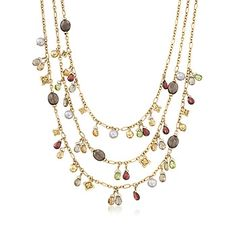 """C. 2013 Vintage David Yurman """"Briola"""" Multi-Stone and Cultured Pearl Necklace in 18kt Yellow Gold. 18.25"""""""