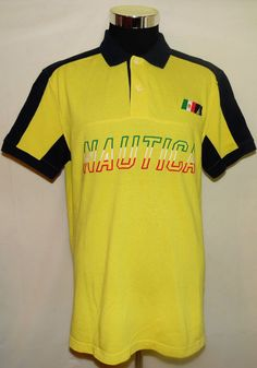 Nautica Spellout Mexico Heritage Big Logo Vintage 90's Polo Shirt Adult Size L #Nautica #PoloRugby