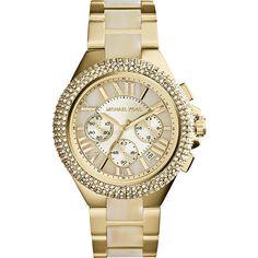 "Only one word for this MK ""BEAUTIFUL"" --> Michael Kors Women's Watch CAMILLE Yellow GOLD Horn Swarovski MK5902 #MichaelKors #Dress #Fashion #Animal print $189.77"