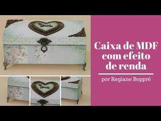 Regiane Boppre Caixa de MDF com efeito de renda - YouTube Decoupage, Shoulder Bag, Box, Youtube, Pasta, Arts And Crafts, Diy And Crafts, Kitchen Signs, Step By Step Painting