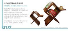 REVISTERO RIÑIHUE: Madera noble CASTAÑO con tinte. · 3 funciones: Guarda tus libros, marca la hoja donde quedaste, mesita. www.kruz.cl