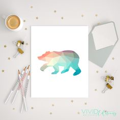 Mint + Coral Geometric Poly Bear