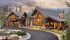 Timber Frame Home. Like balcony over garage and use of rock and wood exterior Timber Frame Home. Like balcony over garage and use of rock and wood exterior Colorado Mountain Homes, Colorado Homes, Timber Frame Homes, Timber House, Timber Frames, Cabin Homes, Log Homes, Tiny Homes, Style At Home