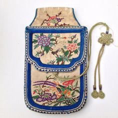 Embroidered Qing dynasty Chinese coin purse by BluePearEmporium