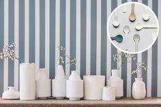 Dulux Colour of the Year Denim Drift - family tonal colour palette, blue hues - Considered Luxury sub theme Dulux Denim Drift Bedroom, Striped Wallpaper Background, Dulux Valentine, Hallway Paint, Dulux Paint, Beachy Colors, Color Of The Year 2017, Striped Walls, Amazing Spaces