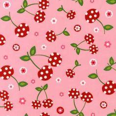 Stof > Retro kersen roze laatste! €3.75 - TroisPetitsPois - 3PP - www.onlinestof.nl