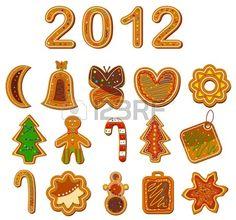 Set di biscotti di Natale su sfondo bianco. Vector illustration