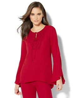 Shop Crochet-Trim Blouse. Find your perfect size online at the best price at New York & Company.