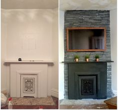 This particular Fireplace hearth is the most inspiring and perfect idea Tv Over Fireplace, Fireplace Update, Fireplace Hearth, Fireplaces, Frame Around Tv, High Heat Spray Paint, Living Room Tv Unit Designs, Ceiling Treatments, Framed Tv