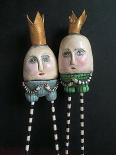 Humpty pair, polymer clay by Mary-Lynne Moffatt Art