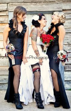 Check out the bridal dresses and bouquets wow
