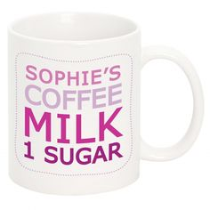 Give this made to order mug as a gift or make sure no-one ever gets your drink wrong again! Choose from pink or blue and personalise the mug with your drink order of choice over 4 lines, maximum 19 c. Personalized Gifts For Her, Coffee Milk, Pink Blue, Drink, Mugs, Awesome, How To Make, House, Latte