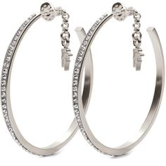 Folli Follie Match N' Dazzle Sterling Silver & Clear Crystal Earrings ($65) ❤ liked on Polyvore featuring jewelry, earrings, accessories, brincos, acessorios, hoop earrings, earrings jewelry, polish jewelry, sterling silver jewelry and clear crystal jewelry