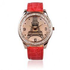 Fashion Chic Girl Ladies Eiffel Tower Dial Crystal Quartz Watch Gift Wristwatch Red Strap