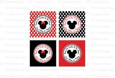 Printable DIY Black and Red Mickey Mouse and Minnie Mouse Theme Boy / Girl Shared Personalized Happy Birthday Thank You Favor Tags. $5.00, via Etsy.
