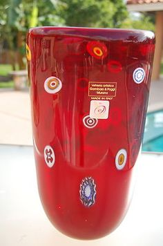 MURANO GAMBARO & POGGI SIGNED VASE SCULPTURE RUBY RED MILLEFIORE