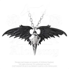 Ravenger Raven Skull on Black Wings Pendant Alchemy Gothic Necklace... ($35) ❤ liked on Polyvore featuring jewelry, necklaces, wing pendant necklace, black skull necklace, pewter pendant, gothic necklace and gothic jewelry