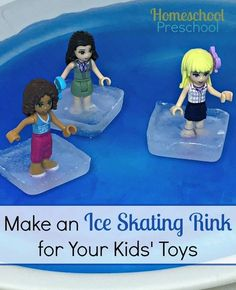 Make a homemade ice skating rink for your kids' toys, and keep them entertained for hours on a long winter afternoon!   homeschoolprescho...