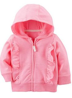 Layer her with cuteness in this girls' Carter's ruffled zip cardigan. Baby Girl Pajamas, Baby Girl Tops, Cute Outfits For Kids, Boy Outfits, Baby Girl Jackets, Baby Dress Design, Carters Baby Boys, Baby & Toddler Clothing, Sweater Hoodie