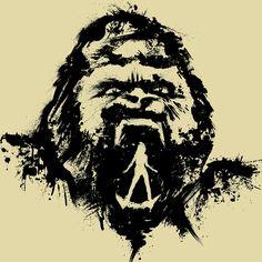 King Kong illustration, Movie Poster, Splatter, ink & brush