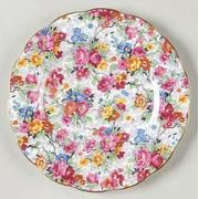 multicolored flowers on a white background - round plate Chintz Bone China