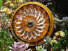 DJ's Drought Resistant Plate Flower. #139.      Garden Yard Art glass and ceramic plate flower