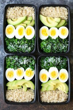Avocado and Egg Breakfast Meal Prep - Jump start your mornings with the healthiest, filling breakfast ever! Loaded with brown rice, avocado, eggs and kale. healthy food Avocado and Egg Breakfast Meal Prep Lunch Recipes, Diet Recipes, Breakfast Recipes, Vegetarian Recipes, Avocado Breakfast, Breakfast Healthy, Breakfast Bowls, Boiled Egg Breakfast Ideas, Healthiest Breakfast
