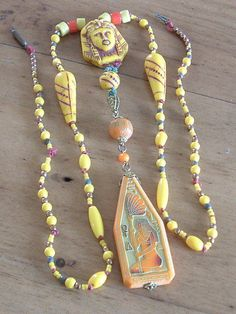 Vintage Egyptian Revival Czech Glass Bead Necklace