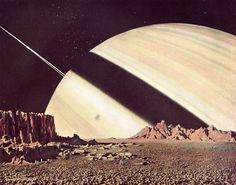 Chesley Bonestell - Saturn from Mimas