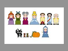 Cinderella Pixel People Character Cross Stitch PDF PATTERN ONLY