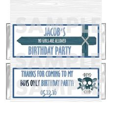 PERSONALIZED No Girls Allowed Birthday Party candy bar wrappers FREE FOILS