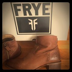 Too small. Worn twice for very limited hours. Medium cognac color with embroidered side zipper on inside of boots. Southwestern vibe, with a very walkable slight heel. Extremely minimal wear. Gorgeous boots-just wish they fit me! Frye Shoes Ankle Boots & Booties